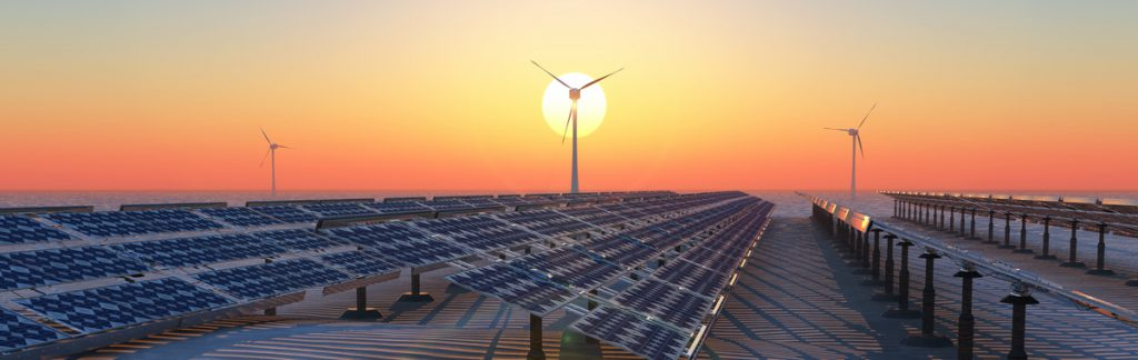 concept illustration of sustainable energy, solar panels and windmills